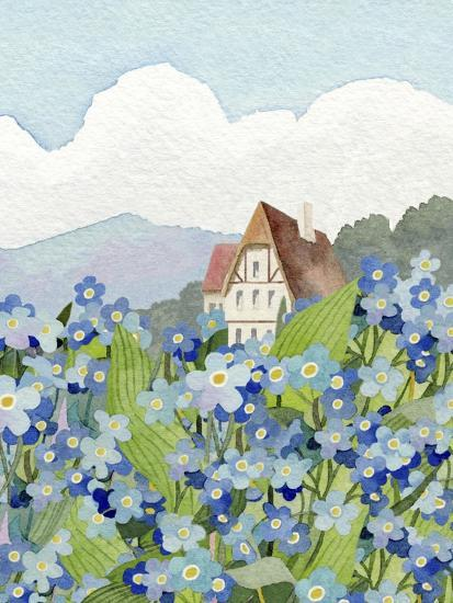 Forget-Me-Not Cottage-Linda Braucht-Giclee Print