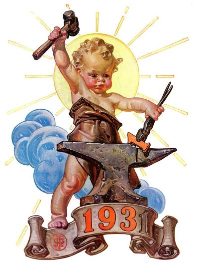 """Forging a New Year,""December 27, 1930-Joseph Christian Leyendecker-Giclee Print"