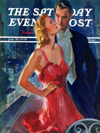 """Formal Couple on Balcony,"" Saturday Evening Post Cover, July 30, 1938-John LaGatta-Giclee Print"