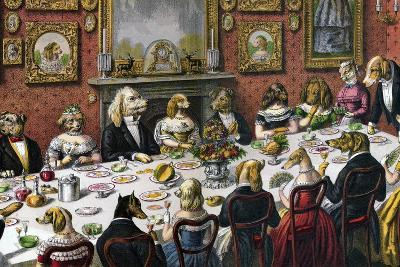 Formal Dinner Party for Dogs, 1893--Giclee Print