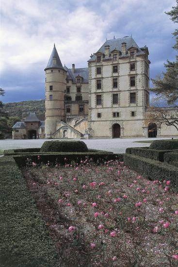 Formal Garden in Front of a Castle, Vizille Castle, Rhone-Alpes, France--Giclee Print