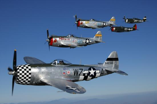 Formation of P-47 Thunderbolts Flying over Chino, California-Stocktrek Images-Photographic Print