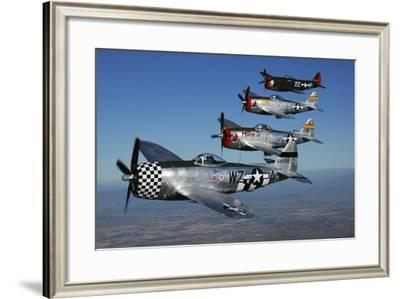 Formation of P-47 Thunderbolts Flying over Chino, California-Stocktrek Images-Framed Photographic Print