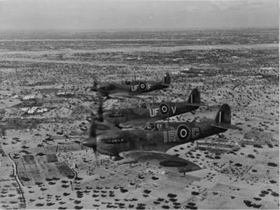 Formation of Spitfires Over North Africa, circa 1943