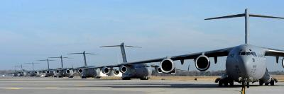 Formation of U.S. Air Force C-17 Globemaster III's Prepare for Departure-Stocktrek Images-Photographic Print