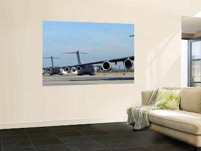 Formation of U.S. Air Force C-17 Globemaster III's Prepare for Departure--Wall Mural