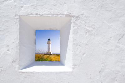 Formentera Mediterranean White Window with Barbaria Lighthouse-holbox-Art Print