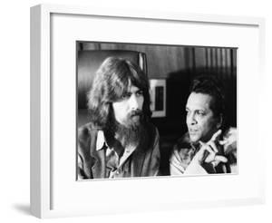 Former Beatle George Harrison (Left) and Indian Musician Ravi Shankar Talk to Newsmen in New York