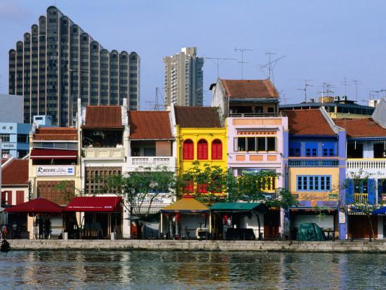 Former Chinese Shophouses, Now Restaurants, along Singapore River Boat Quay, Singapore-John Elk III-Photographic Print