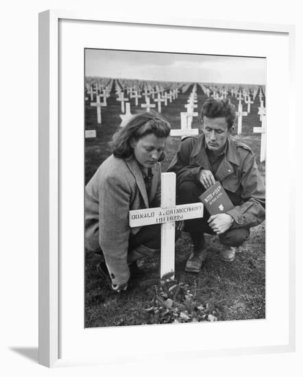 Former GI Ernest Kreiling and His Bride Visiting the Grave of His Best Friend--Framed Photographic Print