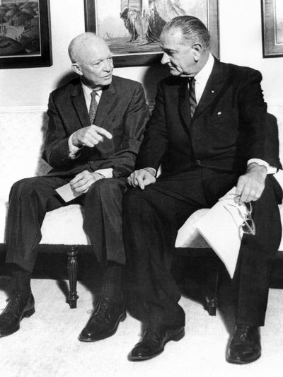 Former President Dwight Eisenhower with President Lyndon Johnson at the White House--Photo