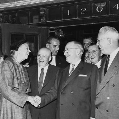 Former President Harry Truman and Eleanor Roosevelt Prior to Truman Library Cornerstone Ceremony