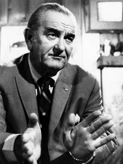 Former President Lyndon Johnson During an Interview Walter Cronkite--Photo