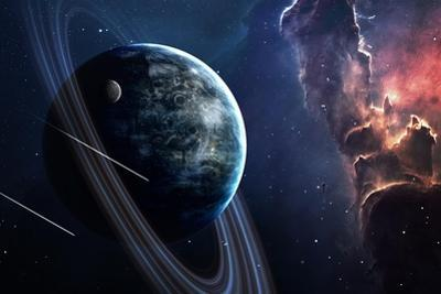 Universe Scene with Planets, Stars and Galaxies in Outer Space Showing the Beauty of Space Explorat by Forplayday