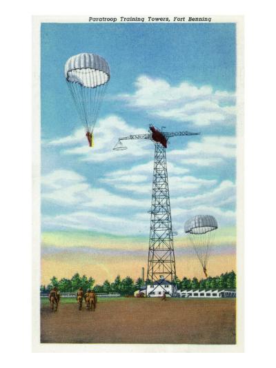 Fort Benning, Georgia, View of Paratroop Training Towers, Parachutes-Lantern Press-Art Print