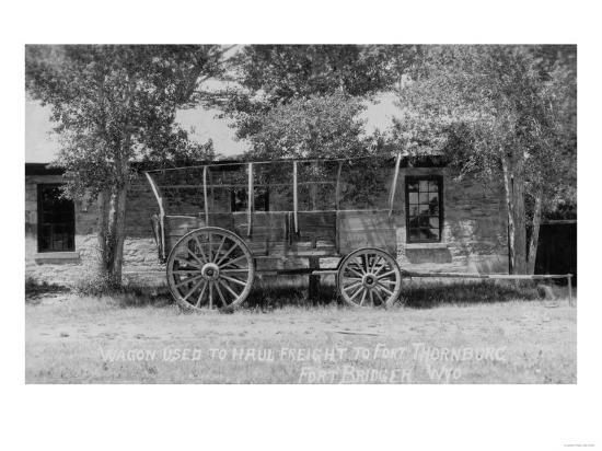 Fort Bridger, Wyoming - Frieght Wagon Scene-Lantern Press-Art Print