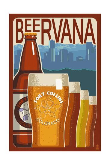 Fort Collins, Colorado - Beervana Vintage Sign-Lantern Press-Art Print