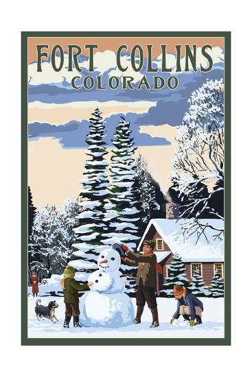 Fort Collins, Colorado - Snowman Scene-Lantern Press-Art Print