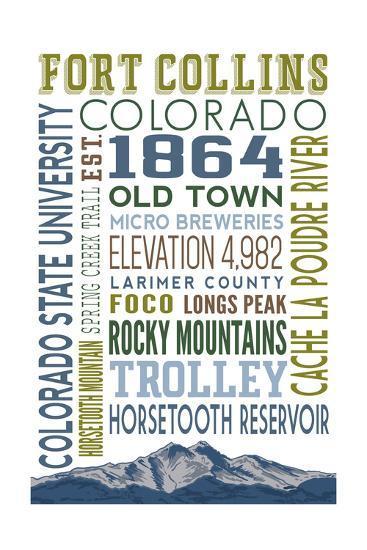 Fort Collins, Colorado - Typography-Lantern Press-Art Print
