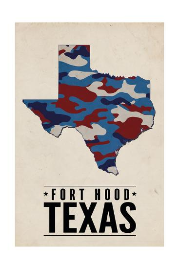 Fort Hood,Texas - the Lone Star State - Camo State-Lantern Press-Art Print