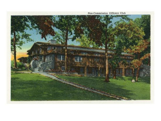 Fort Knox, Kentucky, Exterior View of the Non-Commission Officers Club-Lantern Press-Art Print