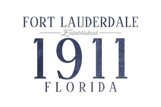 Fort Lauderdale, Florida - Established Date (Blue)-Lantern Press-Art Print