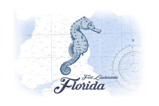 Fort Lauderdale, Florida - Seahorse - Blue - Coastal Icon-Lantern Press-Art Print