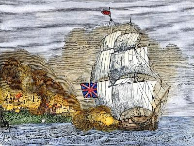 Fort McHenry and Baltimore under British Naval Artillery Attack, 1814--Giclee Print