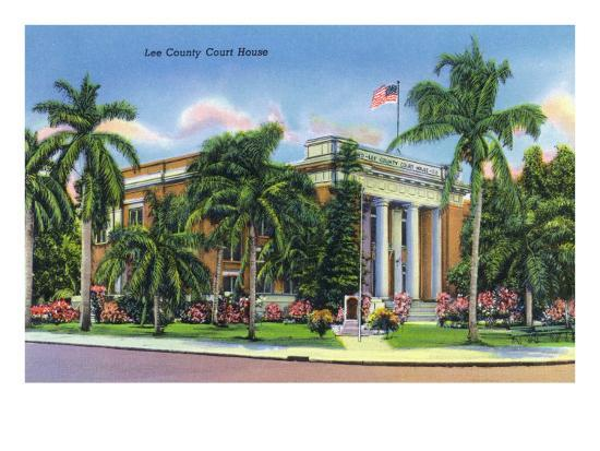 Fort Myers, Florida - Exterior View of the Lee County Court House, c.1948-Lantern Press-Art Print