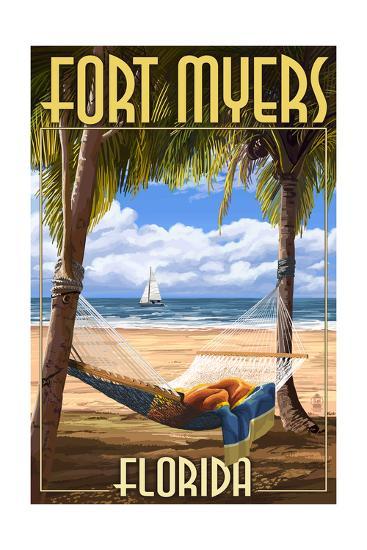 Fort Myers, Florida - Palms and Hammock-Lantern Press-Art Print