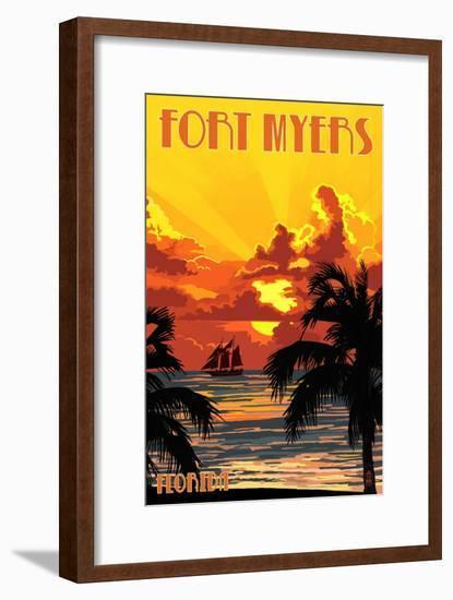 Fort Myers, Florida - Sunset and Ship-Lantern Press-Framed Art Print