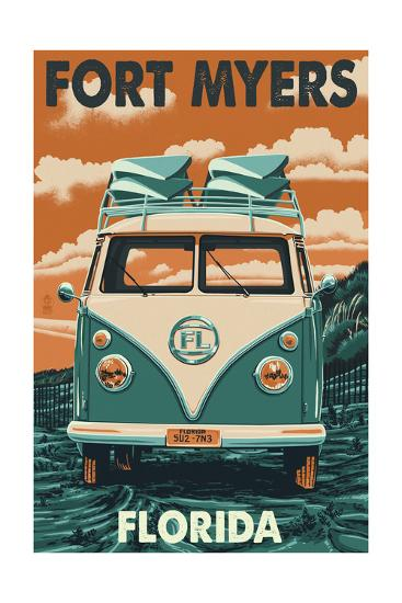 Fort Myers, Florida - VW Van-Lantern Press-Art Print