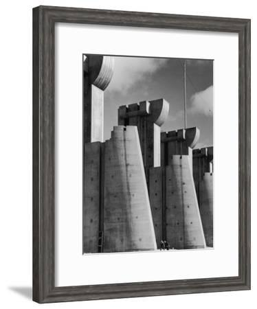 Fort Peck Dam, in the Missouri River: Image Used on First Life Magazine Cover-Margaret Bourke-White-Framed Premium Photographic Print