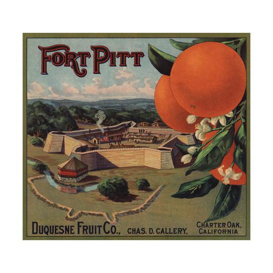 Fort Pitt Brand - Charter Oak, California - Citrus Crate Label-Lantern Press-Art Print