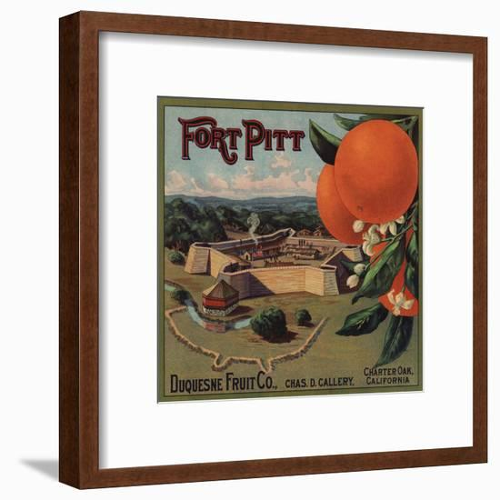 Fort Pitt Brand - Charter Oak, California - Citrus Crate Label-Lantern Press-Framed Art Print