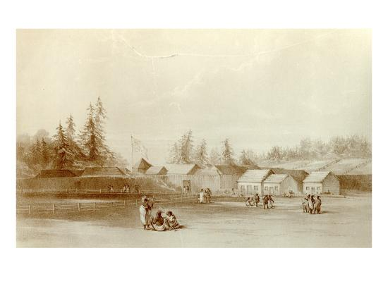 Fort Vancouver, 1845-Henry Warre-Giclee Print