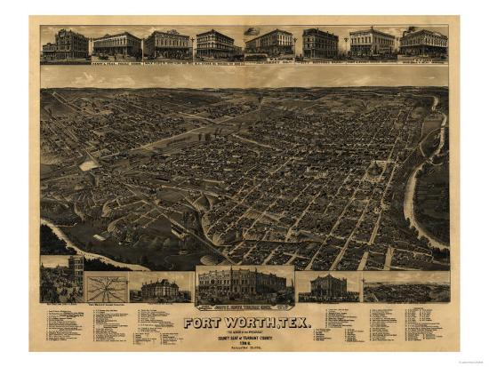 Fort Worth, Texas - Panoramic Map Art Print by Lantern Press | Art.com