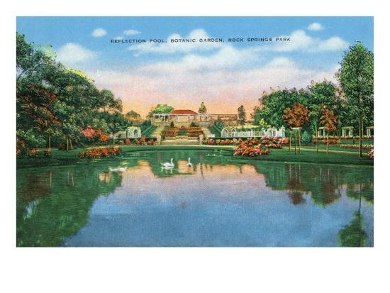Fort Worth, Texas - Rock Springs Park View of the Reflection Pool and Botanic Garden, c.1935-Lantern Press-Art Print