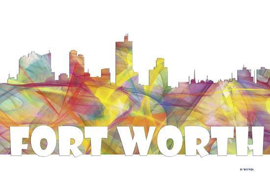 Fort Worth Texas Skyline Mclr 2-Marlene Watson-Giclee Print