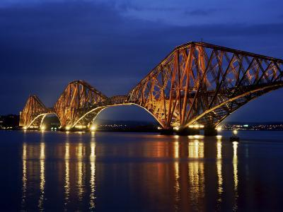 Forth Railway Bridge at Night, Queensferry, Edinburgh, Lothian, Scotland, United Kingdom-Neale Clarke-Photographic Print