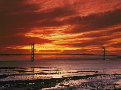 Forth Road Bridge at Sunset, Crossing Firth Between Queensferry and Inverkeithing Near Edinburgh--Photographic Print