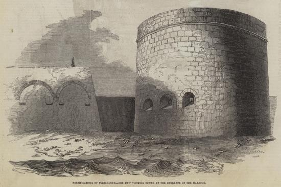 Fortifications of Portsmouth, the New Victoria Tower at the Entrance of the Harbour--Giclee Print
