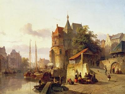 Fortified Buildings on the Banks of a Canal-Cornelius Springer-Giclee Print