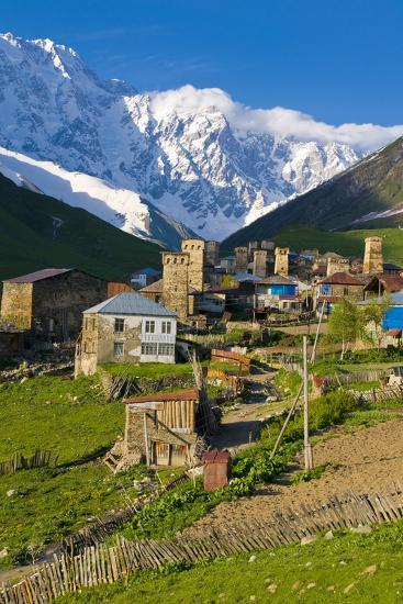 Fortified Village of Ushguli, Svanetia, in Background Mount Shkhara, Georgia, Caucasus-Michael Runkel-Photographic Print