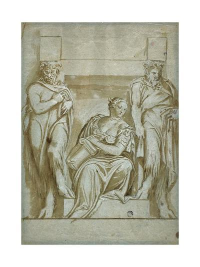 Fortitude (Or Strength) Flanked by Two Satyrs-Veronese-Giclee Print