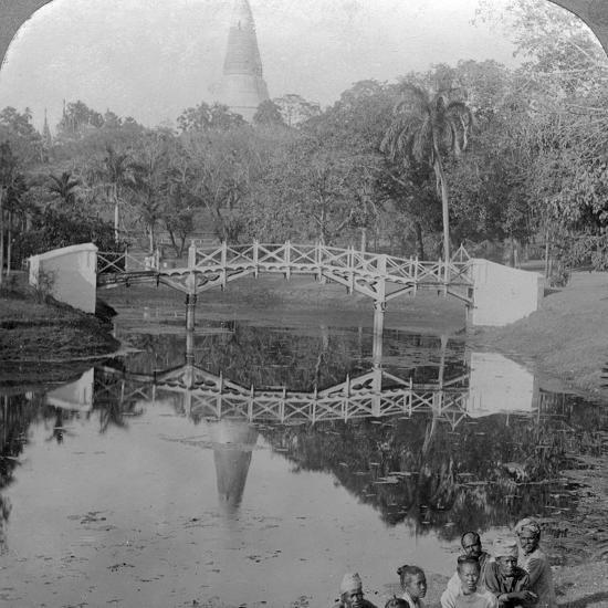 Fortress Gardens and the Shwedagon Pagoda, Rangoon, Burma, C1900s-Underwood & Underwood-Photographic Print
