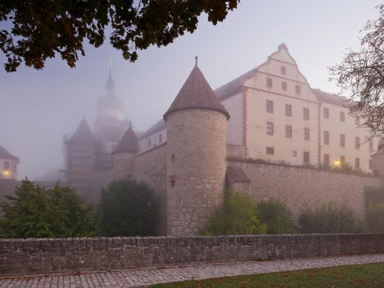 Fortress Marienberg in the Fog, WŸrzburg (City), Bavaria, Germany)-Rainer Mirau-Photographic Print