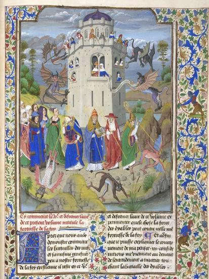 Fortress of Faith (Miniature of the Saints Gregory, Augustine, Jerome, and Ambrose Fighting Demon)-Loyset Li?det-Giclee Print