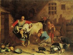 Peasants and Animals (The Lombard Farmhouse Farmstead) by Fortunato Depero