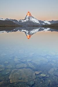 Switzerland, Valais, the Summit of the Matterhorn Reflected in Stellisee During a Relaxing Sunrise by Fortunato Gatto